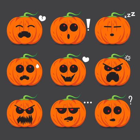 Pumpkin face emotion set vector design for Halloween day. Ilustração Vetorial