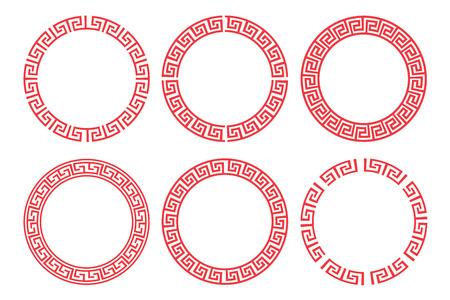 중국 빨간색 원 프레임 벡터 디자인을 설정합니다. 일러스트