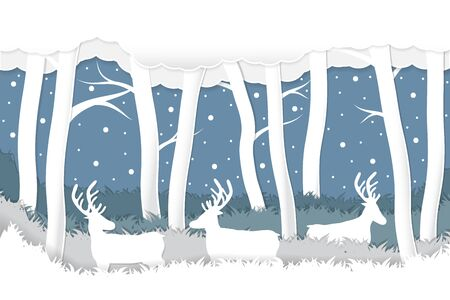 Paper craft cut deer in snow winter forest background .