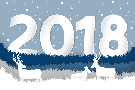 Paper cut deer in sward on snow winter background 2018.