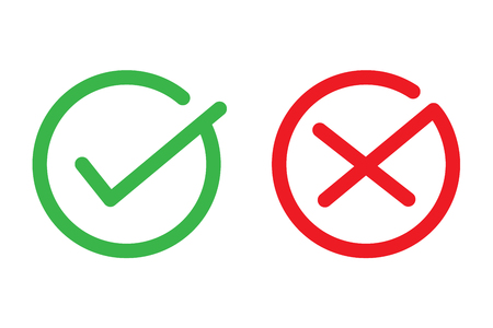 Red and green check cross icon symbol vector design .