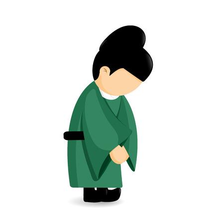 Clothes traditional culture of Korean, Eunuch character cartoon vector design.