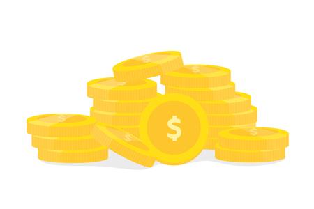 Coins on white background vector design for finance business Illustration