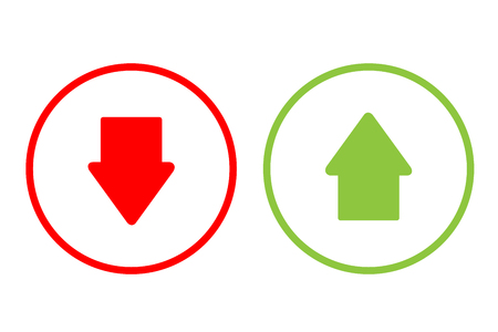 Arrow  green and red vector button design.
