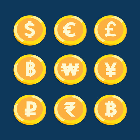 Coin currency set vector design for business finance .