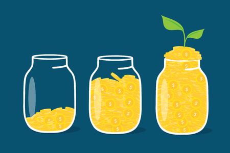 Coin in bottle , financial growth up concept for business vector design.