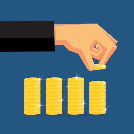 Grab the coins are arranged in layers. Vector design for business finance.