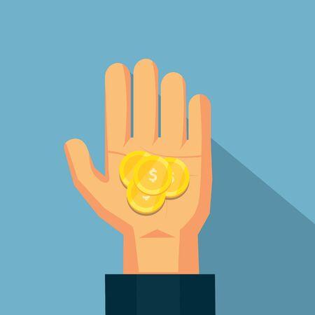 La moneda en la mano. Diseño del vector para las finanzas del negocio.