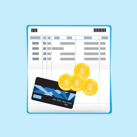 Credit card and coin on bank book. Vector design for business finance.