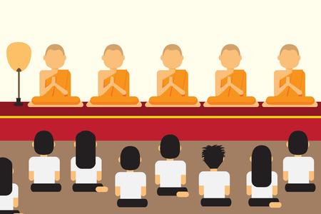 Buddhists paying respect to monks on religious holidays, flat style vector illustration.