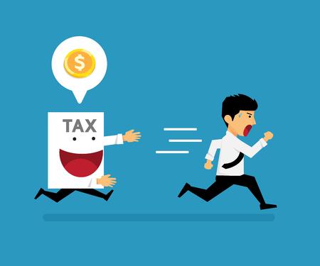 The guy ran away from paper tax vector cartoon business design.