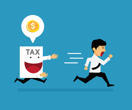 The guy ran away from paper tax vector cartoon business design. Фото со стока - 96437776