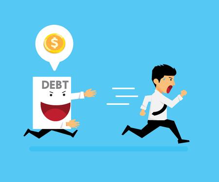 The guy ran away from paper debt. vector cartoon business design. 일러스트