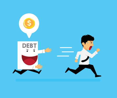The guy ran away from paper debt. vector cartoon business design. Illusztráció