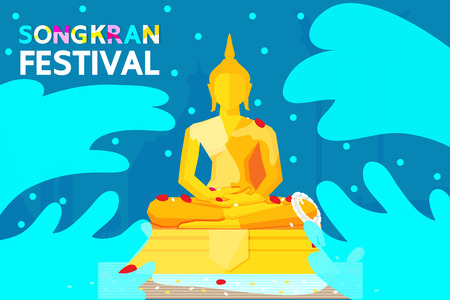 Thailand Songkran Festival illustration with Sprinkle water on to a Buddha Statue Vettoriali