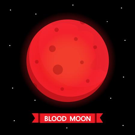 Blood moon cartoon vector design.
