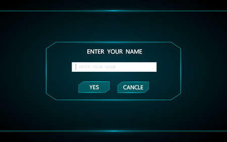 Button to enter the name in the game.Ui technology futuristic interface hud vector design .