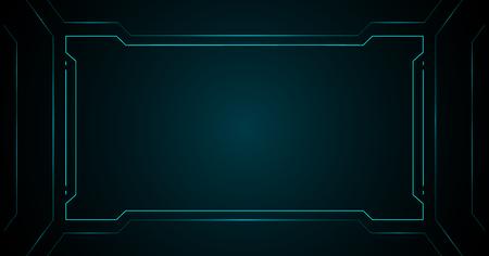 Blue square frame technology futuristic interface hud vector  background design.