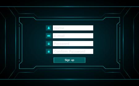 sign up ui design on technology futuristic interface hud background. Ilustrace