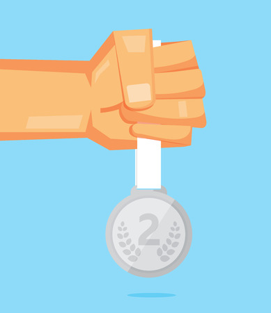 He holds a silver medal vector design