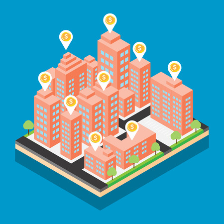 Isometric city vector design on blue background Ilustrace
