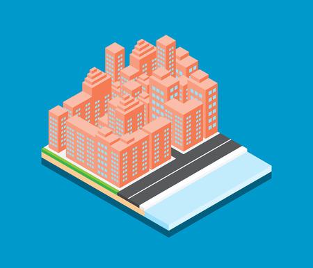 Isometric city vector design on blue background Ilustrace