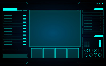 Blue abstract Technology Interface hud on black background vector design.