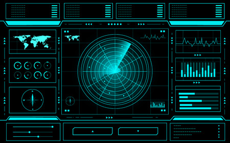 Radar control panel abstract Technology Interface hud on black background vector design.