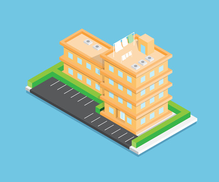 Isometric city vector design on blue background Vettoriali