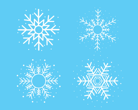 white snowflake set on blue background vector design for Christmas festival.