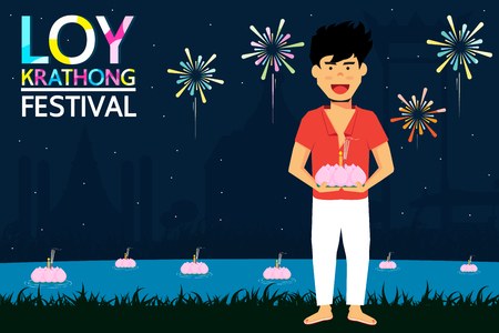 Loy Krathong Festival is a major celebration of Thai people. People will show respect for the goddess Ganges  by krathong. It is a long tradition of Thailand.  イラスト・ベクター素材