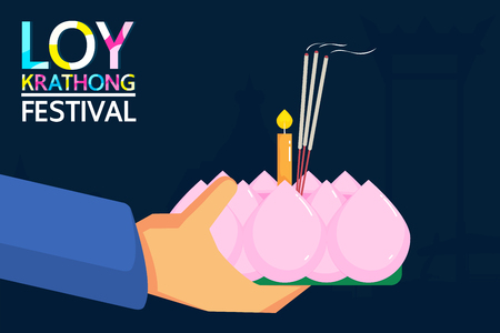 Loy Krathong Festival is a major celebration of Thai people. People will show respect for the goddess Ganges  by krathong. It is a long tradition of Thailand. Ilustrace