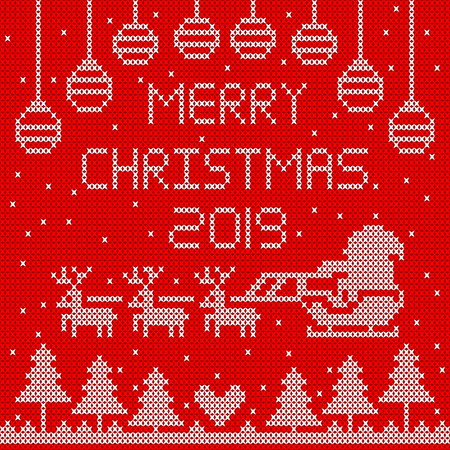 Knitted merry Christmas 2019 on red background design.