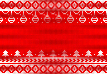 white knitted  on red background design for Christmas event.