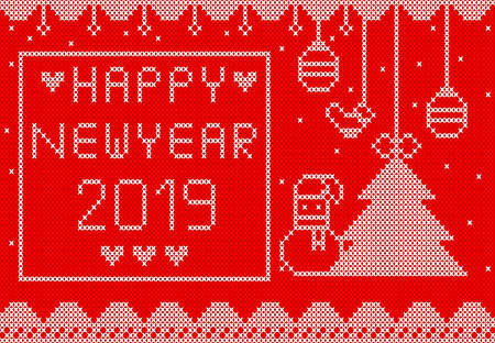 white knitted  on red background design for new year
