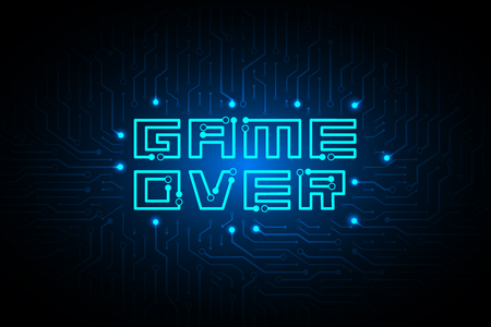 circuit game over on technology background design. Standard-Bild - 121193697