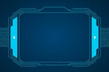 Blue circuit technology interface hud background design.