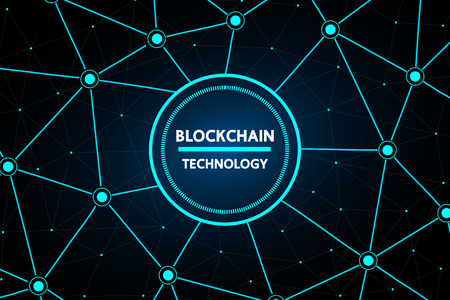 Blockchain abstract technology vector background design for future business . Ilustrace