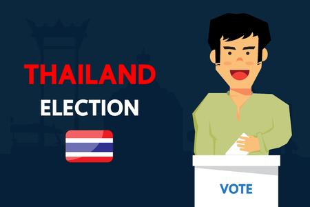 Thailand election vector cartoon design