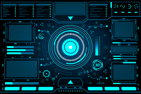 Control panel abstract Technology Interface hud on black background vector design. Ilustrace