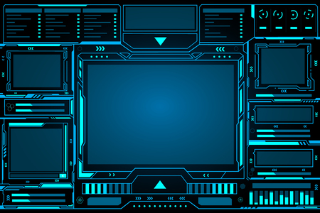 Control panel abstract Technology futuristic Interface hud on black background vector design. Ilustrace
