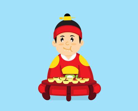 The Korean king is sitting to eat Korean food.