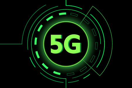 Green 5G new technology internet wifi connection vector design on black background.