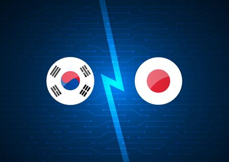 Korean and Japanese flags on abstract technology background design.  イラスト・ベクター素材