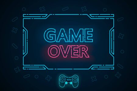 Game over abstract technology interface hud vector design for E sports business.