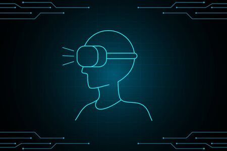 Virtual reality abstract technology future interface hud design for business. 向量圖像