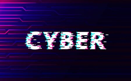 Cyber glitch on abstract technology future interface hud background design.