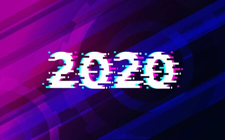 2020 glitch Text on abstract technology futuristic background vector design.