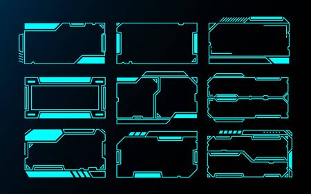 abstract frames technology futuristic interface hud vector design for ui games. 向量圖像