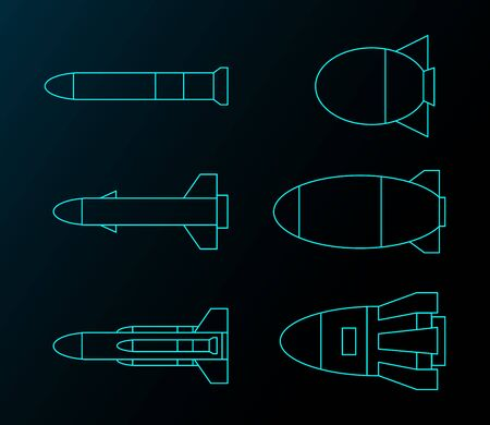 Missile line drawing group vector design